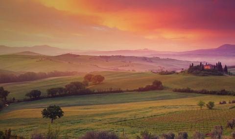 Paysage agricole mediterranee